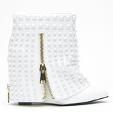 Lust for Life BATTLE Studded Bootie in White at FLYJANE