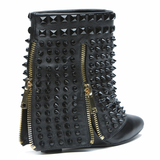 Lust for Life BATTLE Wedge Bootie in Black Leather at FLYJANE