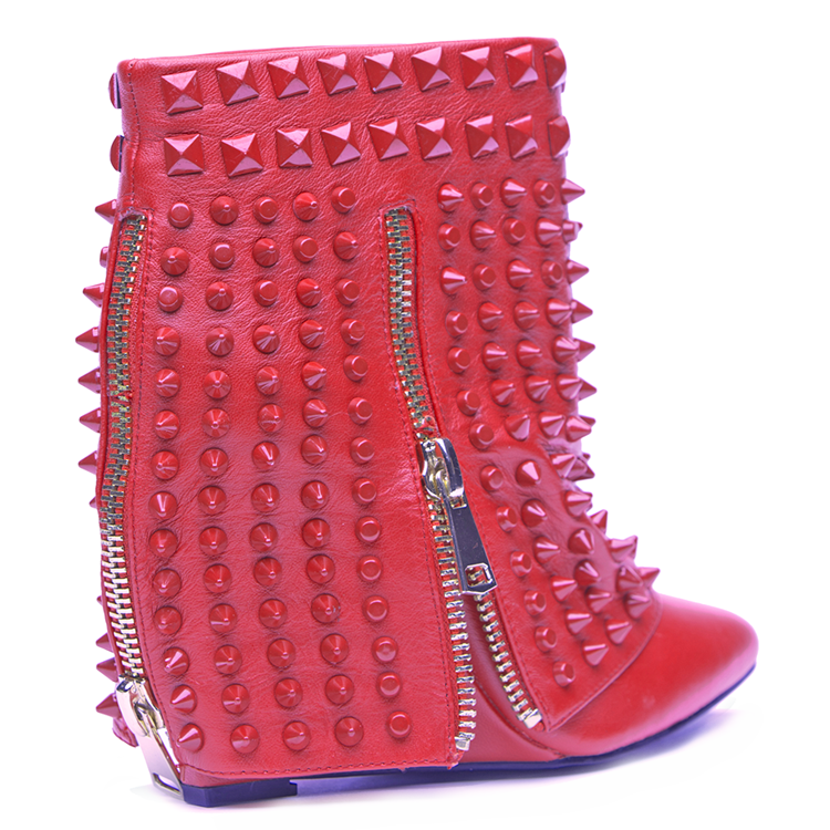 Lust for Life BATTLE Wedge Bootie in Red Leather at FLYJANE