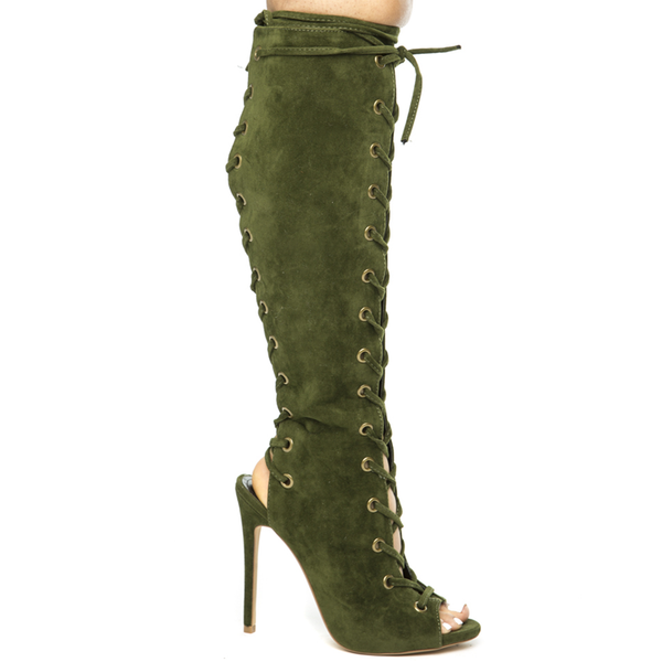 BAXTER LACE UP KNEE BOOT - OLIVE
