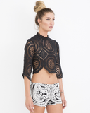 ARTISIAN DREAM Crochet Lace Crop Top in Black at FLYJANE | Black Lace Top | Balmain Crochet Lace Crop Top | Asilo White Walls Lace Crop Top