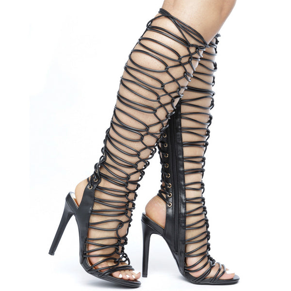 ROMA Strappy Gladiator Sandals in Black at FLYJANE | Black Gladiator Sandals Boots | Strappy Gladiators for Summer