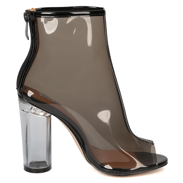 CLAUDIA CLEAR PERSPEX LUCITE BOOTIE at FLYJANE | Cape Robbin BENNY-1 LUCITE Bootie | Clear Perspex Ankle Boot | Follow us on Instagram @FlyJane