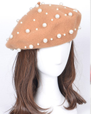 SPARTICUS PEARLED BERET HAT - CAMEL