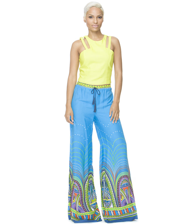 FLORAL COMPASS Palazzo Pant at FLYJANE