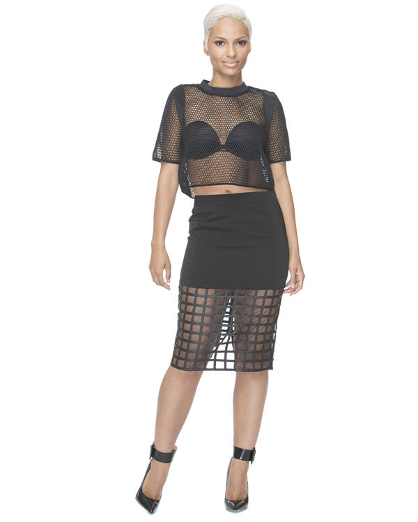 OFF THE GRID Pencil Skirt in Black at FLYJANE
