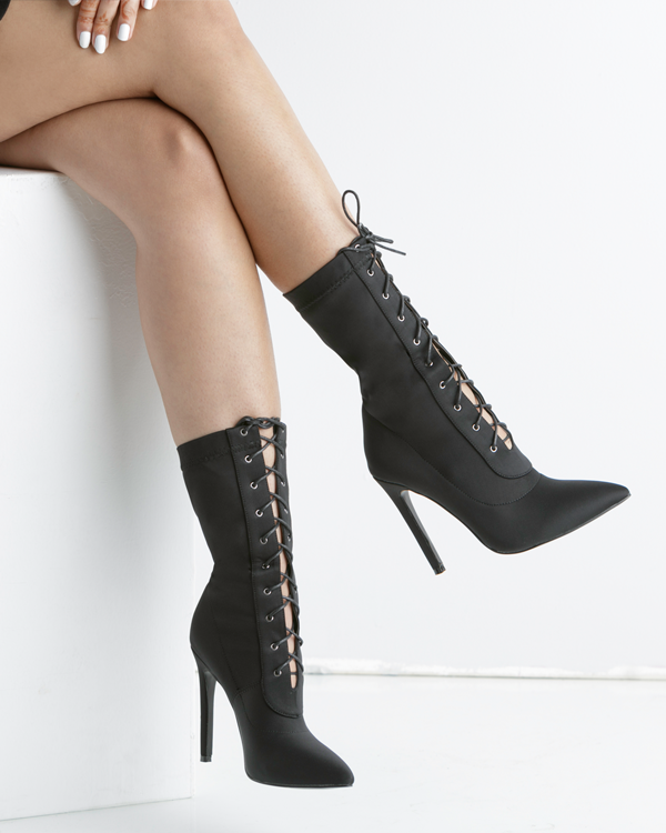 BAHLA LYCRA LACE UP ANKLE BOOT - BLACK