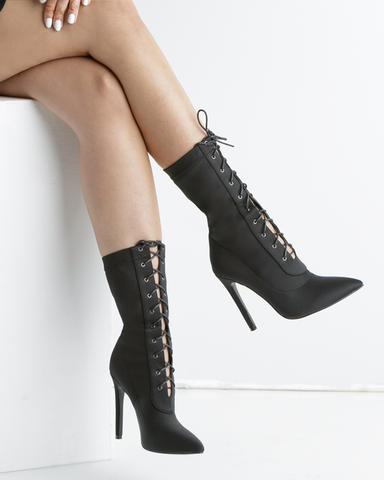 BAHLA Stretch Lycra Lace Up Ankle Bootie in Black by The Loud Factory for FLYJANE | Lace Up Booties | Kim Kardashian Ankle Boots | Kylie Jenner Ankle Booties