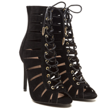 CELESTINE Lace Up Bootie in Black at FLYJANE | Black Lace Up Bootie | Balmain Designer Inspired Lace Up Bootie | Kylie Jenner Lace Up Bootie | Art Basel @FlyJane