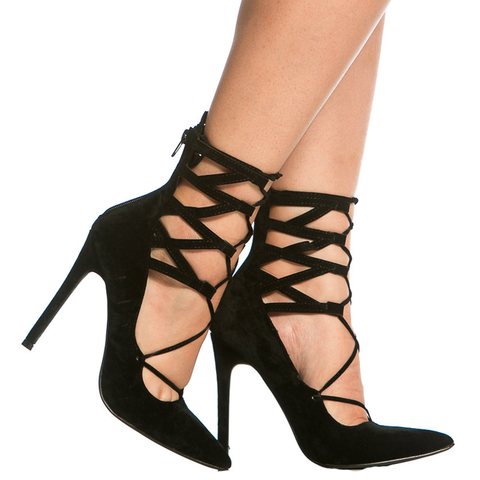 TALIA Faux Suede Lace Up Heel in Black at FLYJANE | Liliana SELINA-6 Lace Up Suede Heel | Black Heels | Pointed Toe Black Strappy Heels | Black Strappy Pumps