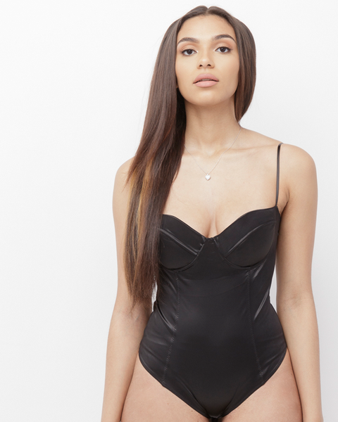 MONI Satin Bustier Bodysuit in Black at FLYJANE | Sexy Satin Bodysuits for layering  | Spring Fashion 2017 | Street Style Fashion | Black Bodysuit | Ecru Lab
