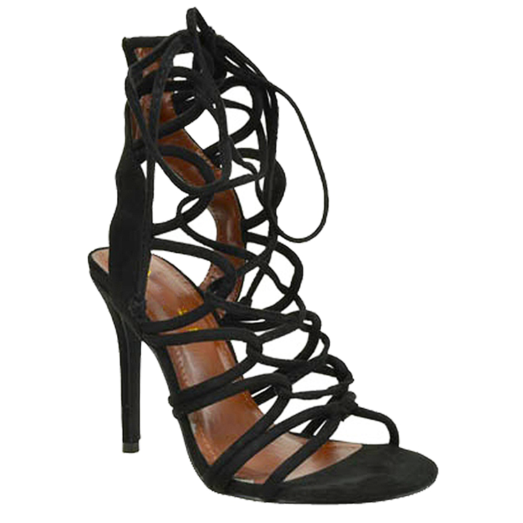 AMICA Lace Up Sandal in Black at FLYJANE | Amica Sexy Lace Up Sandal | Black Strappy Sandals under $50 | Black Sexy Heels | Faux Suede Sandals