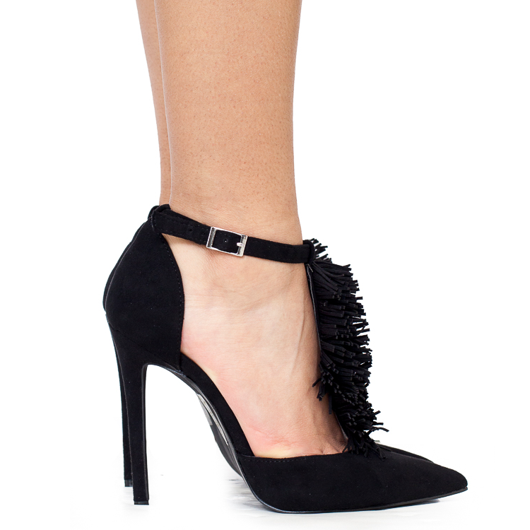 AMILYA Fringe T-Strap Pump in Black at FLYJANE | Cute Black Fringe T-Strap Pump | FlyJane has the cutest shoes on the Web under $50 | ShopFlyJane.com