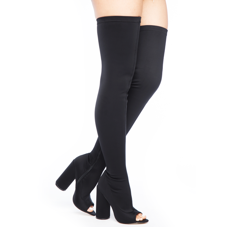 SHAYLA Stretch Lycra Peep Toe Thigh High Boots in Black at FLYJANE | Black Thigh High Boots | Yeezy Season Thigh High Boots | Kim Kardashian Thigh High Boots