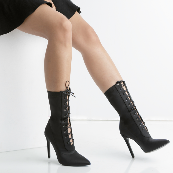 daab7371a1ab ... BAHLA Stretch Lycra Lace Up Ankle Bootie in Black by The Loud Factory  for FLYJANE ...
