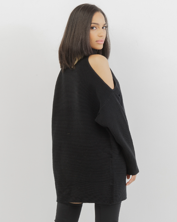 OLIVIA Ribbed Cold Shoulder Tunic Dress in Black at FLYJANE | Ribbed Black Tunic | Black Oversized Tunic | Cutout Shoulder Tunic Dress