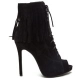 THE ROXY FRINGE BOOTIE - BLACK (SAMPLE)