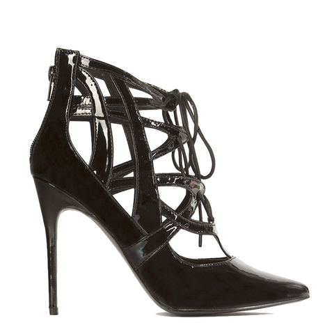 Penny Sue IBIZA Patent Bootie in Black at FLYJANE