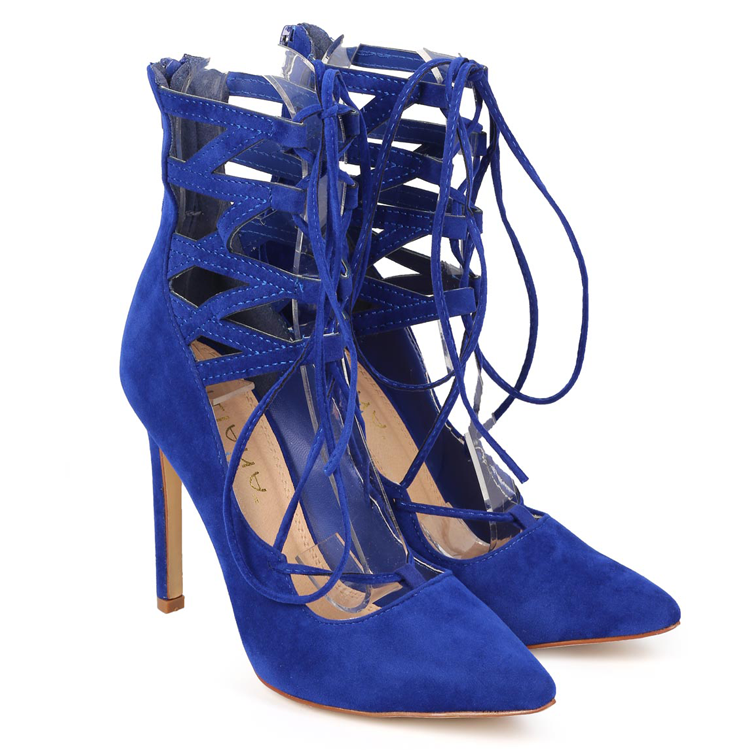 d70d8e3819f1a TALIA Faux Suede Lace Up Heel in Blue at FLYJANE