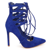 TALIA Faux Suede Lace Up Heel in Blue at FLYJANE | Liliana SELINA-6 Lace Up Suede Heel | Blue Heels | Pointed Toe Blue Heels with Straps Up the Leg | Blue Pumps
