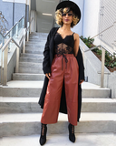 PAID IN FULL Faux Leather Culottes at FLYJANE | Brown Faux Leather Culottes | Faux Leather Pants in Brown | Caramel Color Leather Pants | Drawstring Leather Pants at ShopFlyJane.com