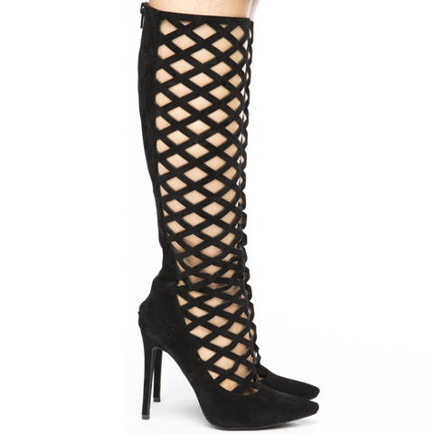 PERPLEXED Caged Knee Boot in Black at FLYJANE | Black Knee Booties | Caged Boots | Lattice Booties - Follow FLYJANE on Instagram @FlyJane NOW