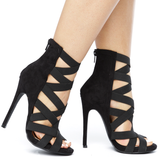 CAGNEY Caged Spandex Strappy Faux Suede Bootie in Black at FLYJANE | Black Suede Bootie | Cute Faux Suede Bootie Spandex Strappy Nude Booties | Shoes under $50