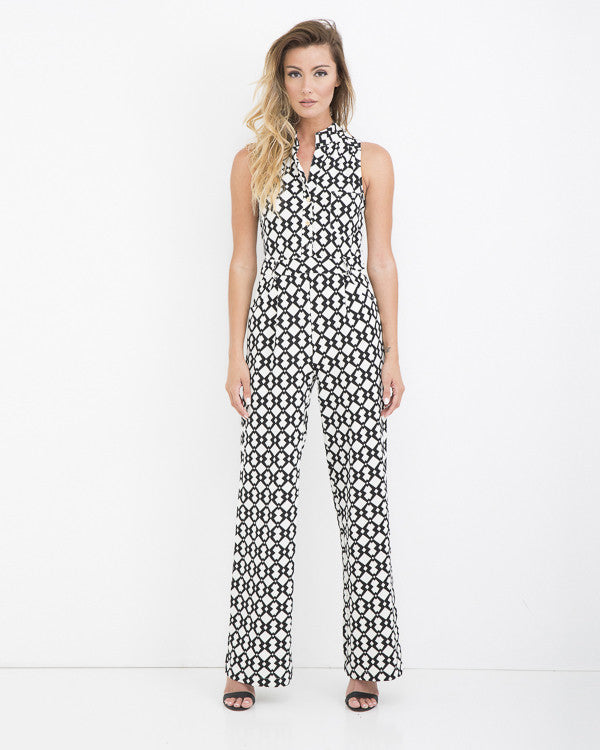 COOL AMBROSIA White and Black Jumpsuit at FLYJANE | White and Black Jumpsuit, Collared Jumpsuit | Belted Jumpsuit