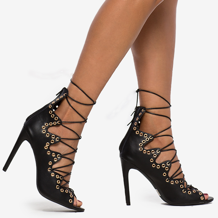 CALLIOPE LACE-UP HEEL - BLACK