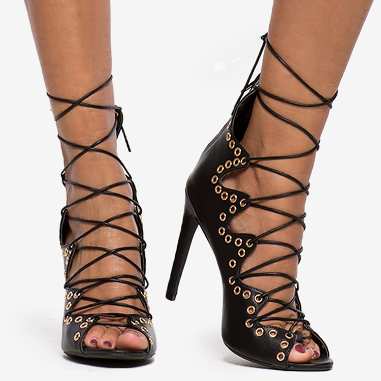 CALLIOPE Lace Up Heel in Black at FLYJANE | Strappy Sandals | Strappy Heels | Sexy Black Sandals with Gold Grommets | High Fashion