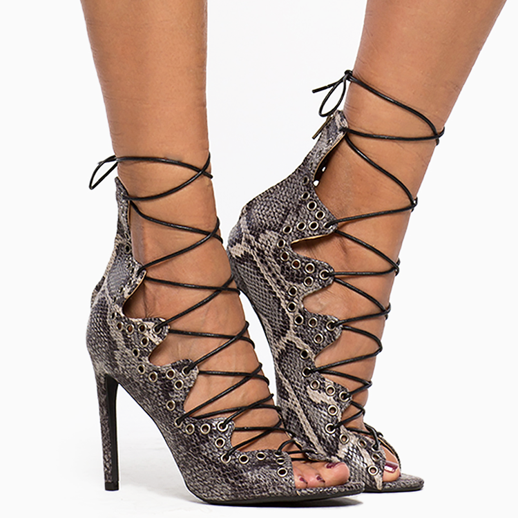 CALLIOPE LACE-UP HEEL - SNAKE