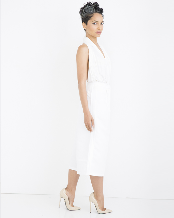 CAMELOT Pleated Tuxedo Culottes in White at FLYJANE | Summer Culottes | Capri Pants | White Women's Tuxedo Pant | Endless Rose | Summer Fashion