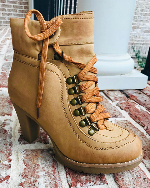 CAMILA Ankle Boots in Tan | FLYJANE | Cute Low Heel Rubber Sole Mountain Boots for Women | Fashionable Granny Boots | Cute Granola Boots for Women at ShopFlyJane.com