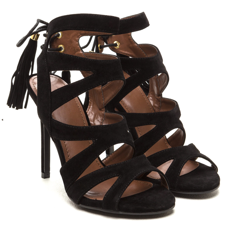 MILANI Suede Cutout Tassel Heel in Black at FLYJANE | Black Faux Suede Cutout Sandal in Black | Cute Designer Fashion Sandals under $50 | Black Suede Heels