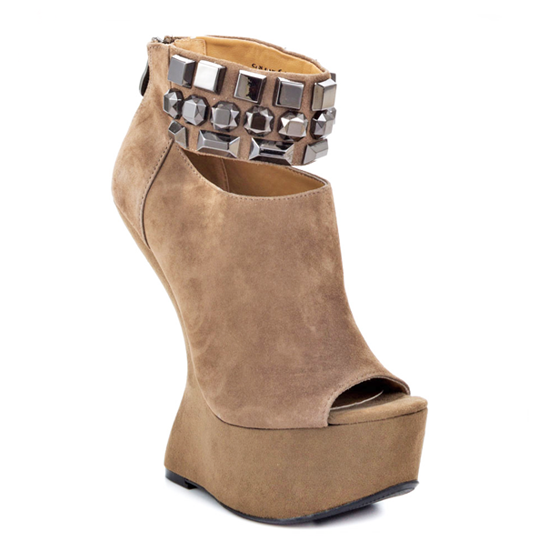 Chinese Laundry CAN CAN Heelless Platform Bootie in Taupe Suede at ShopFlyJane.com