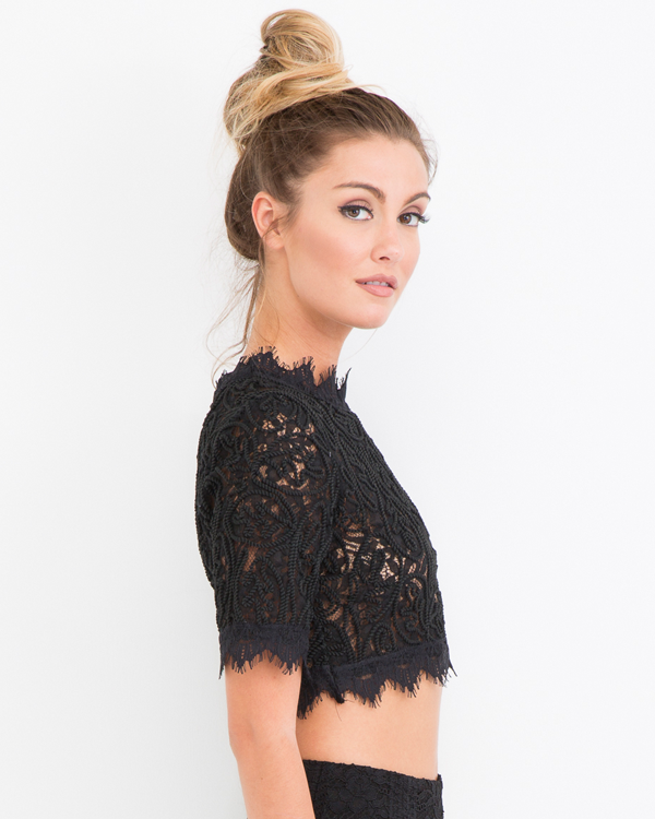 CATALINA LACE CROP TOP - BLACK