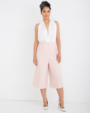 CAMELOT Pleated Tuxedo Culottes in Blush at FLYJANE | Summer Culottes | Capri Pants | White Women's Tuxedo Pant | Endless Rose | Summer Fashion