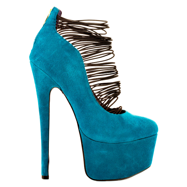 London Trash CERES Platform Pump in Teal Suede at ShopFlyJane.com