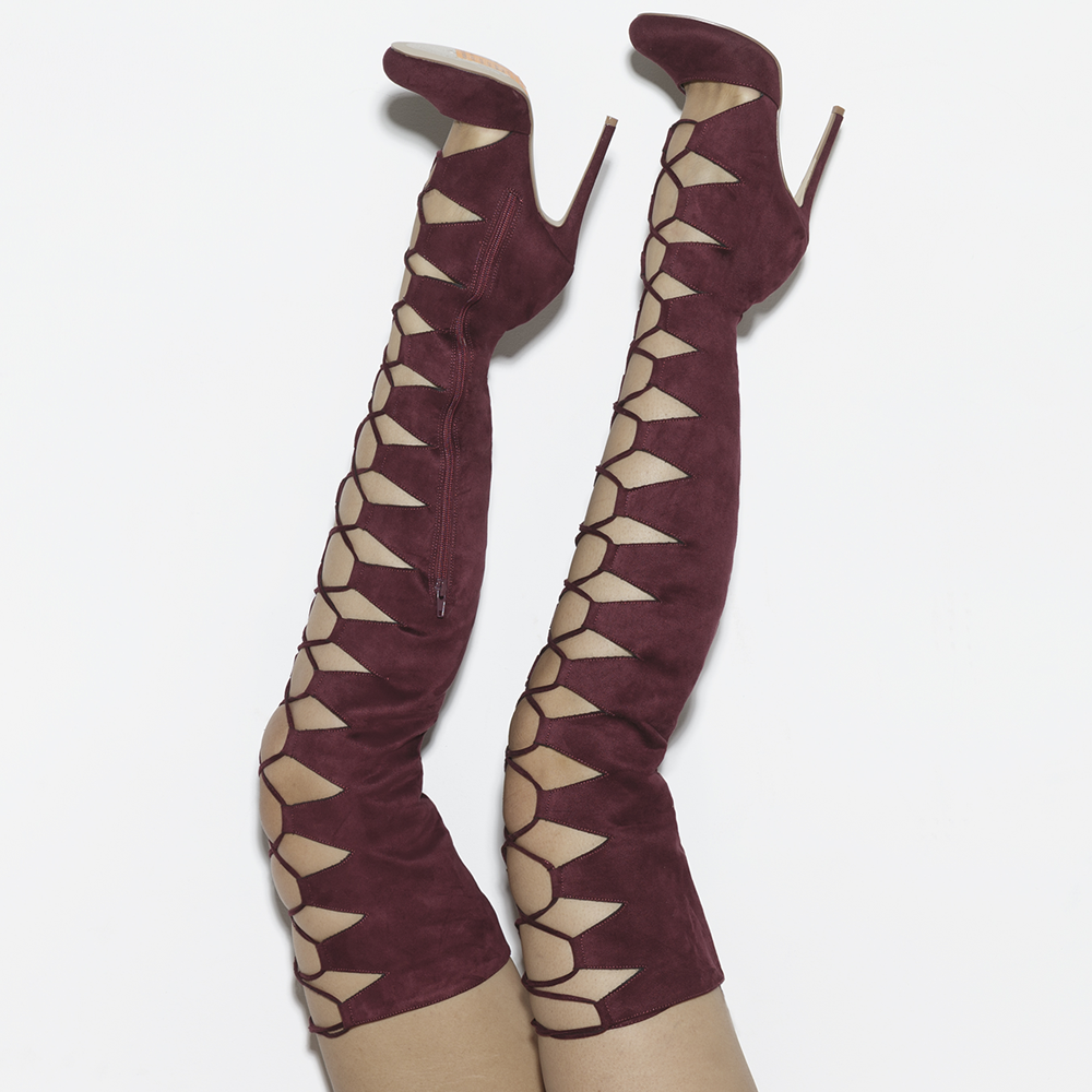 CHAOS Lace Up Thigh High Faux Suede Boots in Wine Burgundy by The Loud Factory at FLYJANE | the Loud Factory Shoes | Wine Red Lace up Suede Thigh High Boots