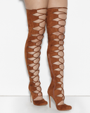 CHAOS Lace Up Thigh High Faux Suede Boots in Chestnut by The Loud Factory at FLYJANE | the Loud Factory Shoes | Chestnut Lace up Suede Thigh High Boots