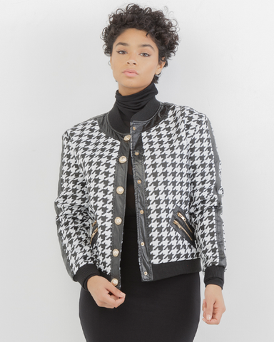 CHECK YOURSELF Houndstooth Bomber Jacket at FLYJANE