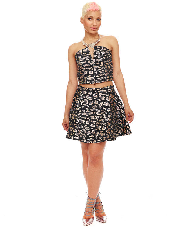 Thunder Cat Leopard Brocade Skater Skirt at FLYJANE