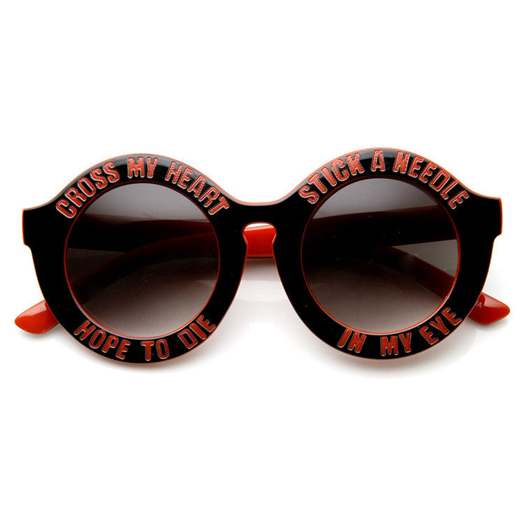 Cross My Heart Hope to Die Stick a Needle in My Eye Round Frame Sunglasses at FLYJANE