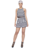Black and White Checkered TWO FACED Romper at FLYJANE