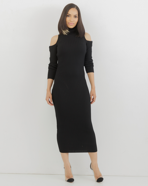 COLD SHOULDER Ribbed Knit Turtleneck Midi Dress in Black at FLYJANE | Cute Open Shoulder Dress by The Loud Factory | Sexy Knit Dresses for Curvy Girls | FLYJANE