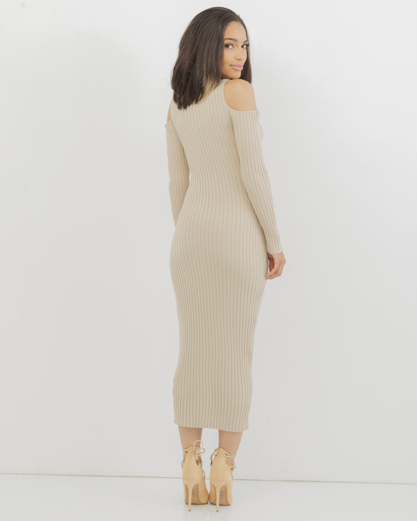 COLD SHOULDER Ribbed Knit Turtleneck Midi Dress in Nude at FLYJANE | Cute Open Shoulder Dress by The Loud Factory | Sexy Knit Dresses for Curvy Girls | FLYJANE