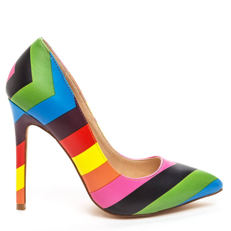 The BRIGHT SIDE Rainbow Pump at FLYJANE | Rainbow Pumps | Valentino Look-alikes | Classy Pumps with Retro Rainbow Heels | Colorful Pumps | Colorful Heels