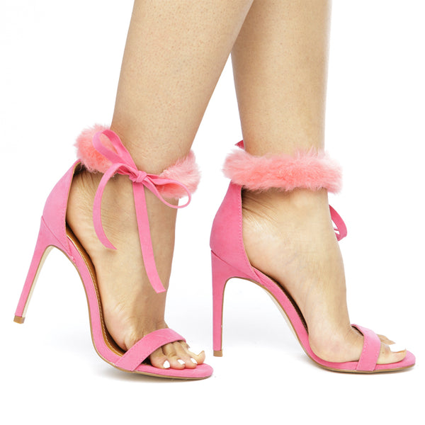 COOKIE Fur Collar Heels in Pink at FLYJANE | Pink Heels | Pink Strappy Heels | Pink Stiletto Heels | Faux Fur Sandals | Cute Contemporary Heels under $50
