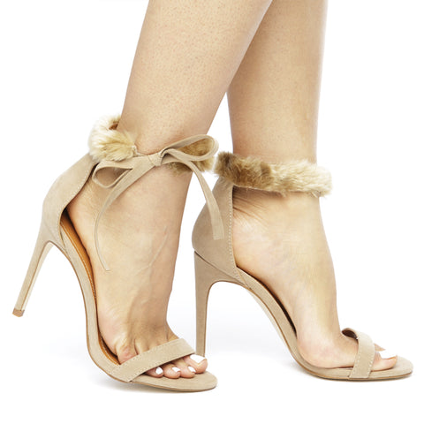 COOKIE Fur Collar Heels in Taupe at FLYJANE | Nude Heels | Nude Strappy Heels | Nude Stiletto Heels | Faux Fur Sandals | Cute Contemporary Heels under $50