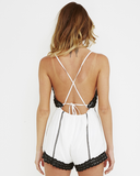 LOVE AND LACE Romper White and Black at FLYJANE | Casual Romper